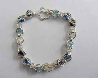 "Sterling silver and Swarovski crystal ""Trapped"" bracelet"