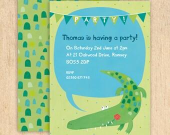 Personalised Crocodile Party Invitations -- Minimum order 8