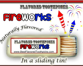 Fireworks Flavored Toothpicks - 70+ Flavors! 4th of July, Fourth of July, July 4th, Independence Day, Patriot, Patriotic, Fireworks, Gift