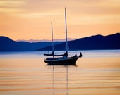 Original Art Canvas Print of Sailboat Legoe Bay Sunset - 16 x 20 Gallery Wrap Canvas