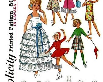 "Wardrobe Pattern for Barbie, Tammy, & other 11-1/2"" to 12"" Dolls"