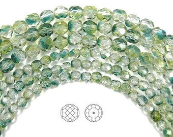 4mm (102pcs) Crystal Oceanic Luster coated, Czech Fire Polished Round Faceted Glass Beads, 16 inch strand