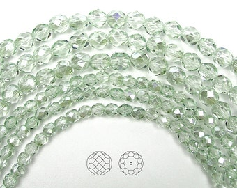 4mm (102pcs) Crystal Viridian coated, Czech Fire Polished Round Faceted Glass Beads, 16 inch strand