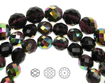 12mm (34pcs) Deep Violet Vitrail coated, Czech Fire Polished Round Faceted Glass Beads, 16 inch strand