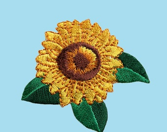 Self Adhesive Full Embroidered Patch Yellow Sunflower Flower Green Leaves Sticker Iron On Motif Applique (sold by piece) CF-Sunflower
