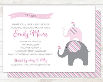 elephant baby girl shower invitation printable digital elephant stripes invite pink shower invite customizable personalized