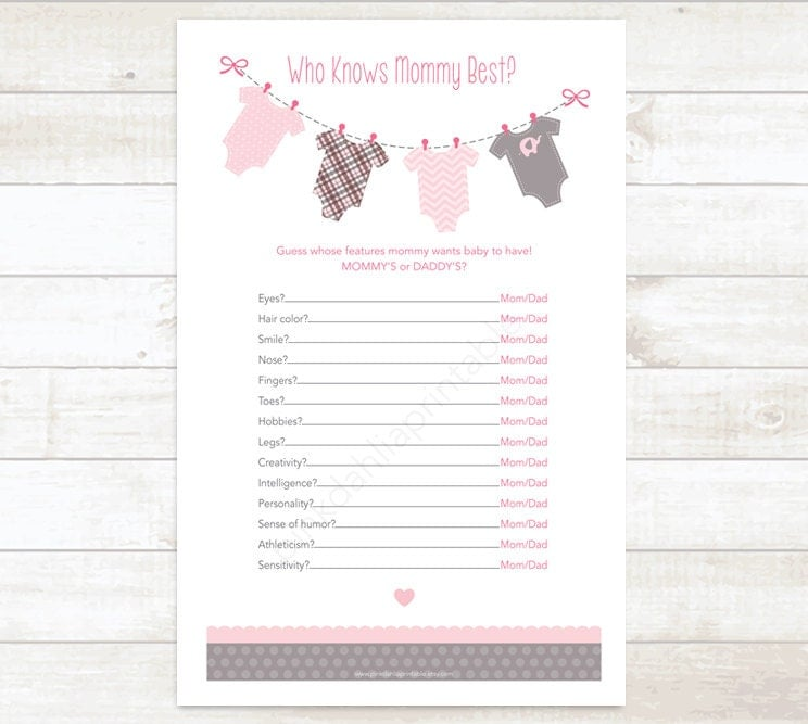 who knows mommy best baby girl shower game baby shower, Baby shower invitation