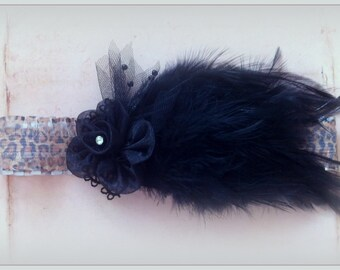 Headband, Hairband, Feathers, Black, Flower, Cheetah