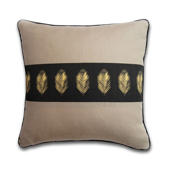 Soft Yellow Decorative Pillows : Gray and Yellow Organic Cotton Decorative Pillow Charcoal