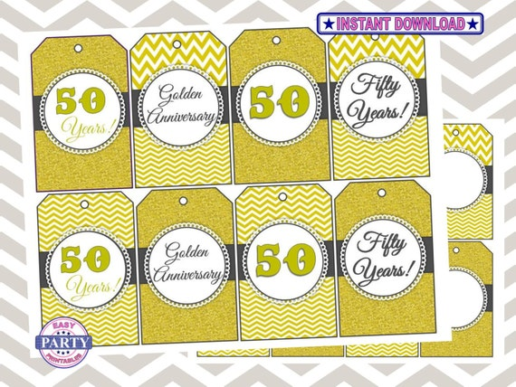 50th Wedding Anniversary Gift Tags : 50th Anniversary Instant Download Favor Tags, Gold and Gray, gift tags ...