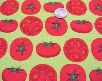 Robert Kaufman Metro market fabric tomatoes on chartreuse by the 1/2 yard