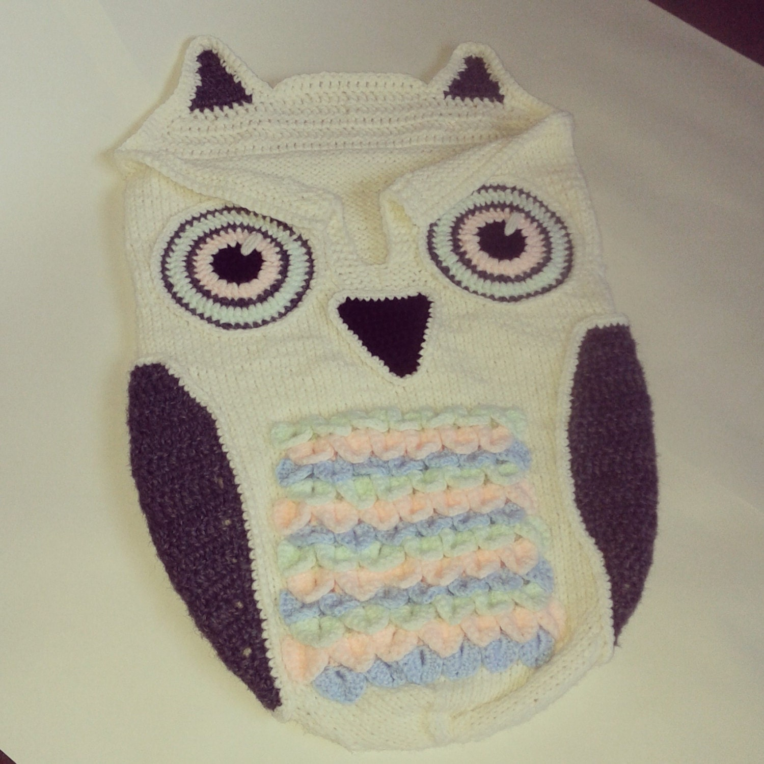 Baby knitted cocoon with owl crochet details by TheMorningWhisper