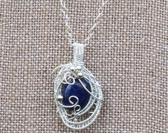 Wire Wrapped Lapis Lazuli and Sterling Silver Pendant
