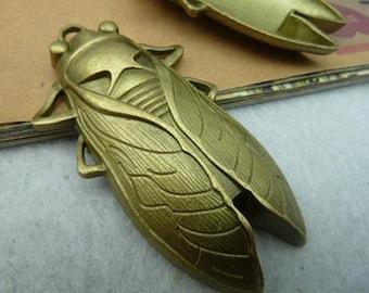 10pcs 61x34mm antique bronze big cicada charms pendant C2665