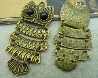 4pcs 30x70mm Antique Bronze Lovely Owl Charm Pendant C3018