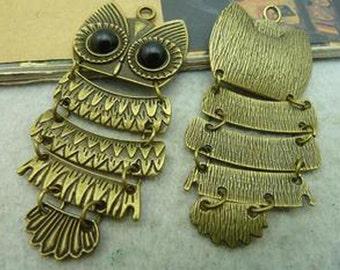4pcs 30x70mm Antique Bronze Lovely Owl Charm Pendant C3018