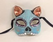Day of the Dead Mask Collection - Teal/Blue Catwoman's  Masquerade Halloween  Mask to Wear or Display Decoration