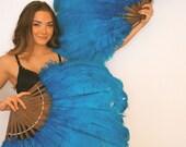 Ostrich Feather Fans (Pair) - Turquoise / Aqua