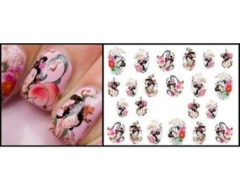 Nail Art Geisha Nail Water Decals Transfers Wraps