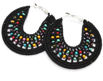 Handmade Earrings 50mm, Crocheted Hoops, Silver Plated, Round Dangle Earrings, Beaded