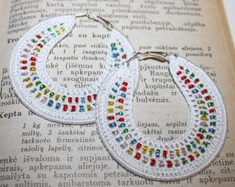 Handmade Earrings, Crocheted Hoops 70mm, Silver Plated, Round Dangle Earrings, Beaded, White Lace, Christmas Gift, Colourful Dangling