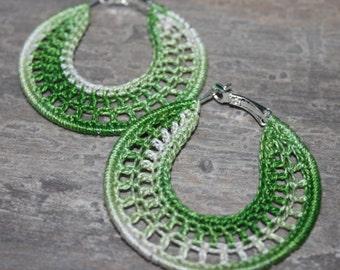 Handmade Earrings, Crocheted Hoops 50mm, Silver Plated, Round Dangle Earrings, Beaded, Lace, Dangling, Party Girl, Summer Heat