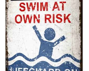 Lifeguard on Beer Break Metal Tin Sign Plaque Funny Pool Beach Bar Swimming