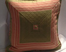 Pink and Green Quilted Bull's eye Pillow Cover