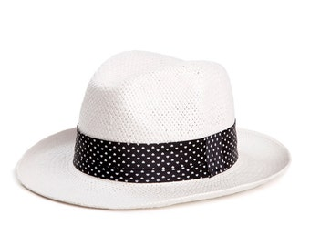 Panama hat , Unisex , Sun hats for men and women, White hat decorated with a stunning satin ribbon.
