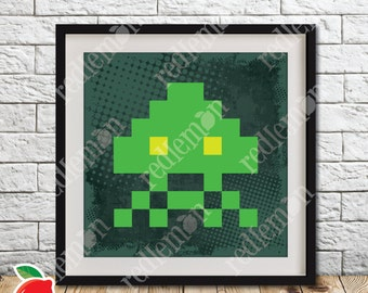 Retro Video Game Atari 8-bit Space Invaders Alien 2 Print