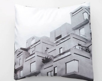 "Cover / Cushion cover in Velvet ""Habitat 67"", Montreal black & white icon picture"