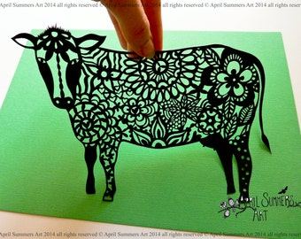 PERSONAL Mrs Cow Digital DIY Papercutting File Paper Cutting Template