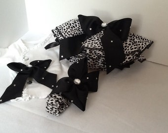 Black and white animal print diaper cover set