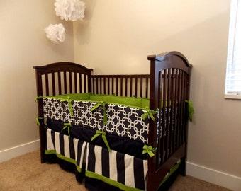 Custom 2 or 3 piece Crib Bedding - Navy Green Navy