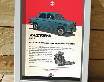 classic car on poster, digital print, Central european car, Zastava, Yugoslavia