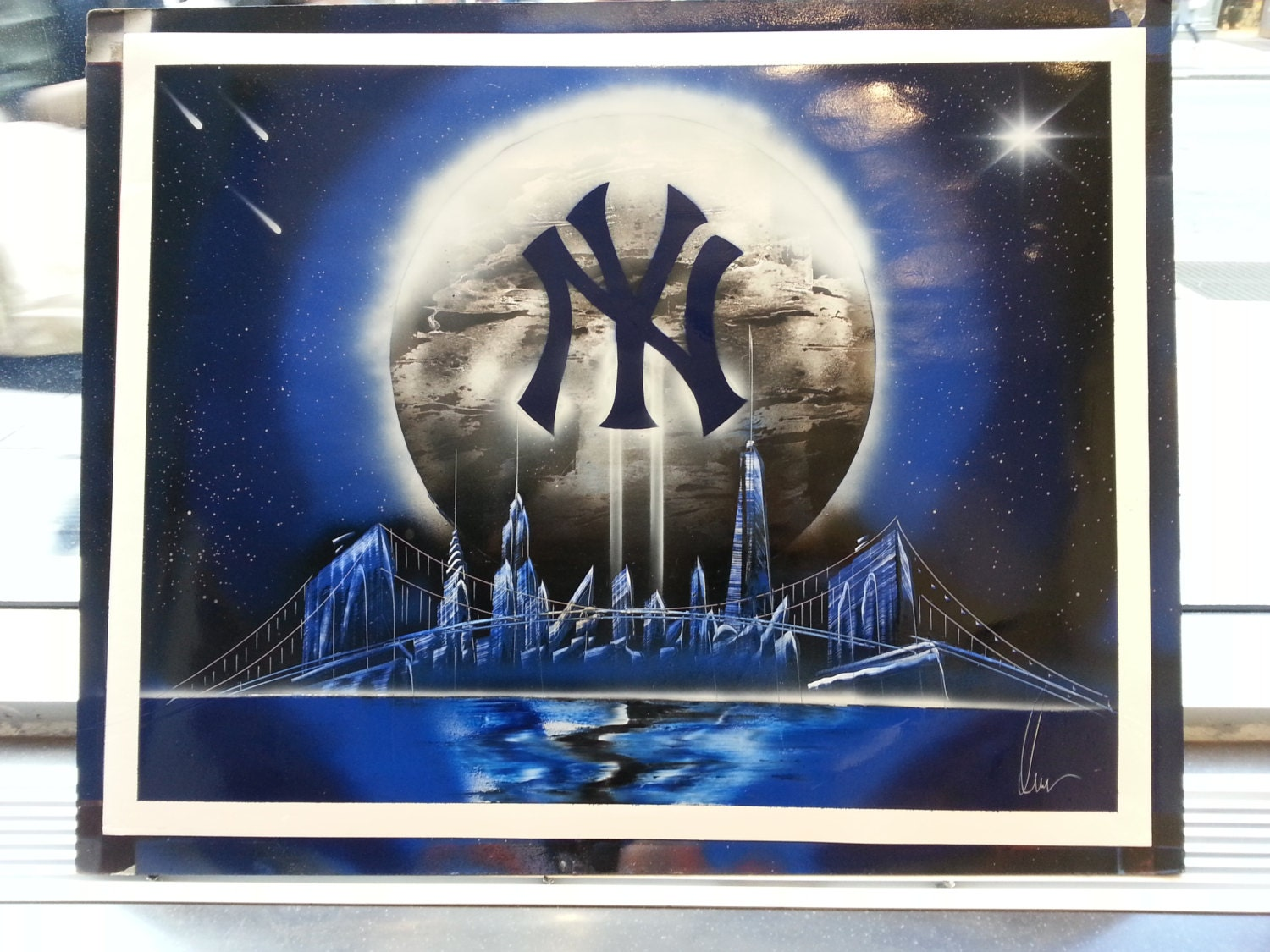 new york yankees spray paint art space painting. Black Bedroom Furniture Sets. Home Design Ideas