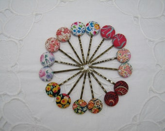 Handmade Liberty Fabric Bobby Pins Collection A