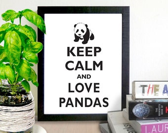 PRINTABLE Keep Calm and Love Pandas / Instant Download / 8 x 10 digital download