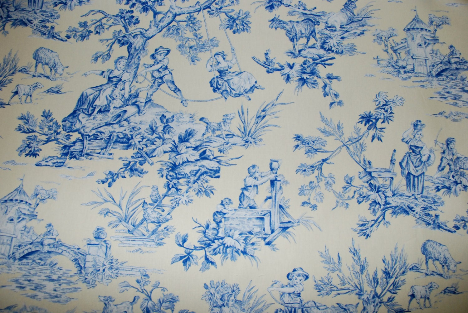 Soft Yellow and Blue Toile Fabric Traditional by ShopMyFabrics