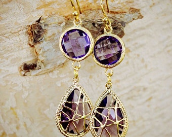 Purple Earrings Double Drop Earrings Crystal Drop Earrings Wedding Gift Bridesmaids Earrings Violet Amethyst Earrings Dangle Earrings
