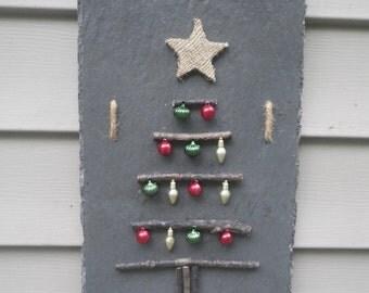 Hanging Slate Twig Christmas Tree