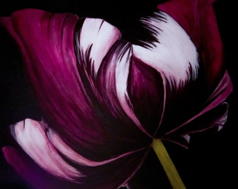 """Large flower painting """"Shy Tulip in Purple"""""""
