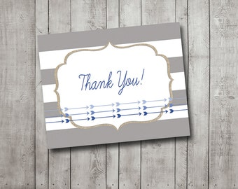 Thank You Card Boy Baby Shower Navy Blue Gray Burlap Arrows Printable Instant Download