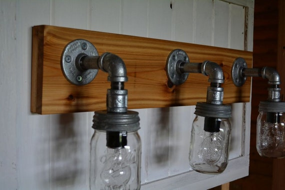 Rustic mason jar vanity light by reclaimerdesign on etsy Rustic bathroom vanity light fixtures