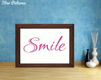 Smile poster. Wall art decor. Printable art. Smile in red lettering.