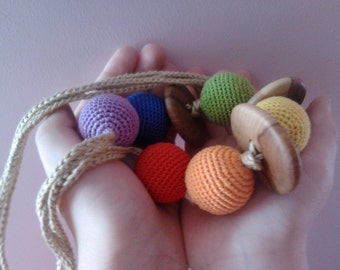 Baby toy/Bio toy/Eco toy/Organic cotton 100%/Applewood /Button/for Crib and Stroller/Breastfeeding.