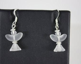 Clear glass angel earrings - fishhooks  E37
