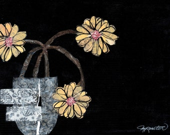 Floral - Midnight Daisies - Contemporary Print of Original