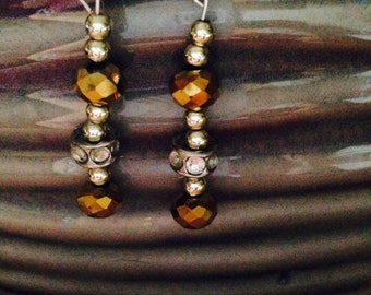 Gold and silver bead earrings.  Swarovski earrings. Gold bead earrings.Silver bead earrings. Gold, silver and crystal. Swarovski. TBFB0746