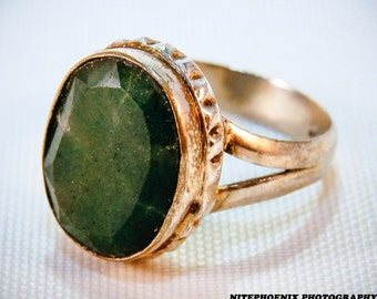 Faceted Natural Emerald Ring | .925 Sterling Silver | Size 9 | May Birthstone | Free Shipping & Gift Box/Bag